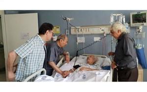 عیادت علی نصیریان از جمشید مشایخی در بیمارستان + تصویر