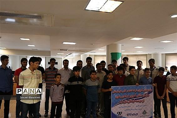 بازدید دانشآموزان پسر دورههای تابستانه سازمان دانش آموزی از موسسه فرهنگی شهر آرا مشهد