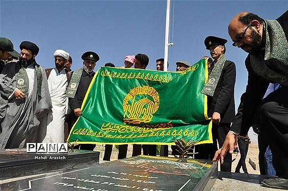 استقبال اهالی روستای بورنگ درمیان از حضور پرچم و کاروان خدام امام رضا (ع)