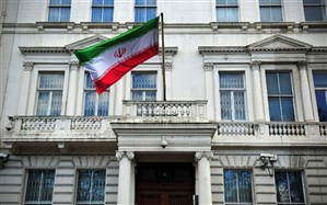 مسدود کردن در ورودی سفارت ایران در لندن به دست چند معترض
