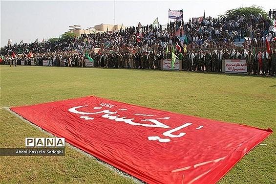 رزمایش 20 هزار نفری اقتدار عاشورایی بسیجیان  در بوشهر