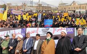 حضور یکپارچه فرهنگیان و دانشآموزان استان همدان در مراسم روز ملی مبارزه با استکبار جهانی
