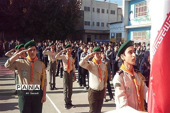 صبحگاه مشترک تشکلات دانشآموزی دبیرستان شهید رجایی در خراسان شمالی