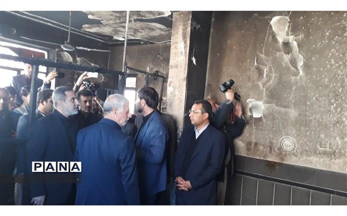 دیدار بطحایی وزیر آموزش و پرورش با خانواده دانش آموزان  آتش سوزی مدرسه زاهدان