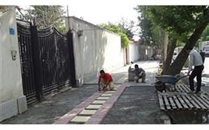 عملیات پیاده رو سازی در سطح منطقه یک در حال اجرا است
