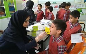 اجرای طرح وارنیش فلوراید دانش آموزان دبستان علامه حلی 1 دوره اول