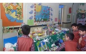 برپایی نمایشگاه از دست سازه های دانش آموزان دبستان علامه حلی 1 دوره اول