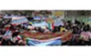 حضور پرشور فرهنگیان، دانش آموزان و مردم فریمان در راهپیمایی 22 بهمن