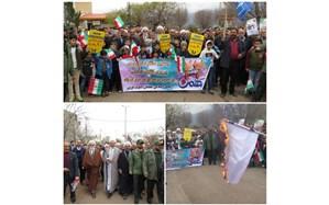 حضور پرشور فرهنگیان و دانش آموزان الموت غربی در جشن چهل سالگی انقلاب اسلامی ایران