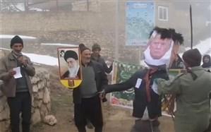 صحنهای دیدنی از راهپیمایی ۲۲ بهمن در یکی از روستاهای مازندران