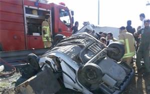 امداد رسانی هوایی و زمینی به مصدومان تصادف در اتوبان کرج-قزوین