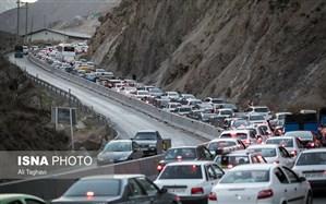 ترافیک سنگین در جاده کرج چالوس