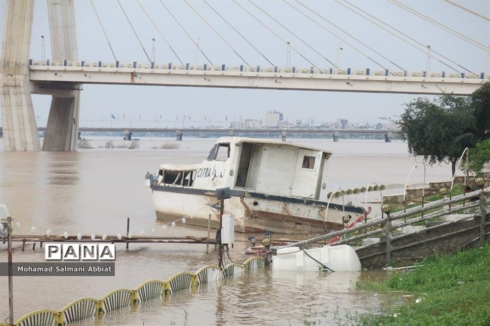 افزایش سطح آب رود کارون در اهواز