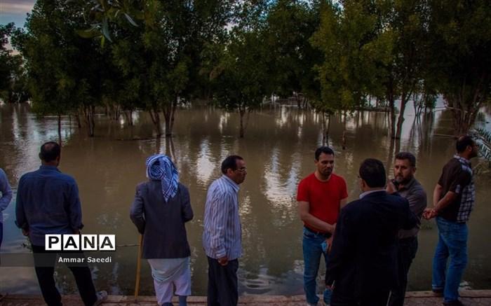 طغیان رودخانه کرخه در خوزستان و تخلیه منطقه خزعلیه