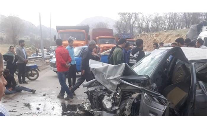 تصادف دو خوردوی پژو در محور یاسوج به بابامیدان 2 کشته و 7 مصدوم بر جای گذاشت + تصاویر