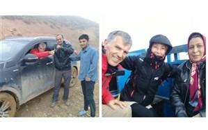نجات گردشگران فرانسوی از گل و لای و مه در دامغان