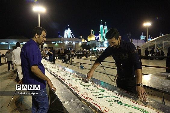 پخت کیک عظیم بهمناسبت جشن میلاد حضرت امام حسن مجتبی  (ع) در قم