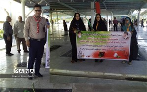 غبار روبی  گلزار شهدا به مناسبت آزادسازی خرمشهر در شهرستان امیدیه