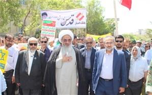 راهپیمایی روز جهانی قدس همزمان با سراسر کشور دربوشهر  برگزار شد