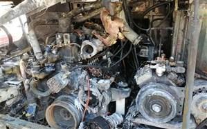 اتوبوس گردشگری ایران در مسیر اربیل عراق آتش گرفت