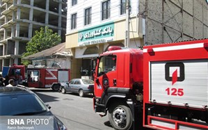 مصدوم شدن 9 نفر در آتش سوزی بانک کشاورزی آستارا + تصاویر