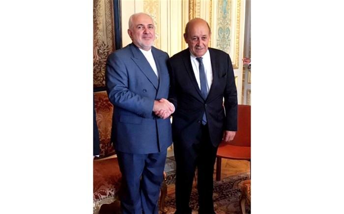 ظریف با وزیر امور خارجه فرانسه دیدار کرد