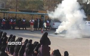 برگزاری مانور روز ایمنی و آتشنشانی در دبیرستان فرزانگان دوره دوم