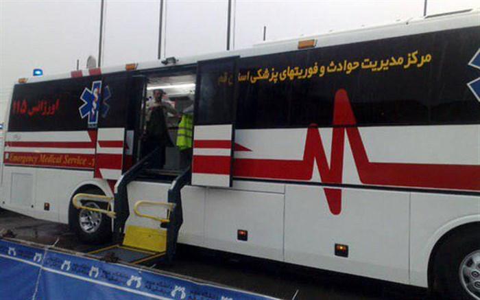 اعزام اتوبوس آمبولانس قم به فرودگاه تهران