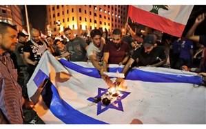 تصویر/ آتشزدن پرچم اسرائیل در تظاهرات لبنان