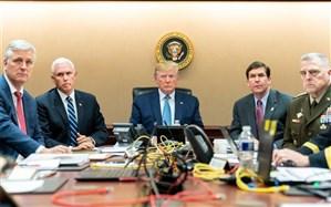 تصویر/ دونالد ترامپ در حال تماشای فیلم سینمایی کشتن ابوبکر البغدادی