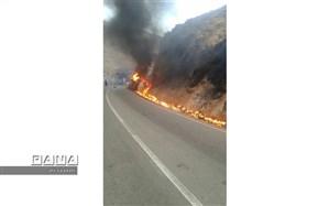 واژگونی و آتش سوزی تانکر حمل سوخت درجاده کلات و فوت راننده