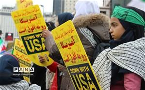 مشارکت  دانش آموزان در برگزاری راهپیمایی سیزده آبان، تحقق تربیت تمام ساحتی است