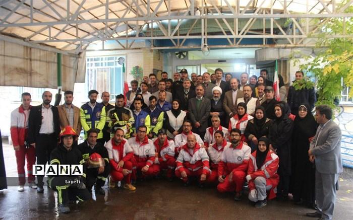 مانور تخلیه اضطراری در مرکز سالمندان توحید شهر گلمکان