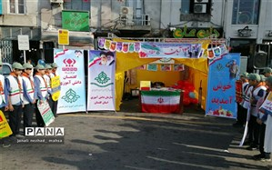 حال و هوای غرفه سازمان دانش آموزی استان گلستان در راهپیمایی 13 آبان