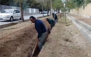 آغاز عملیات لوله گذاری انتقال آب خام به فضای سبز خیابان آیت الله دستغیب