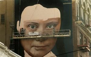نوجوان مشهور فعال محیط زیست بار دیگر سوژه نقاشی خیابانی شد