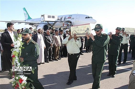 ورود پیکر مطهر دو شهید گمنام به استان هرمزگان