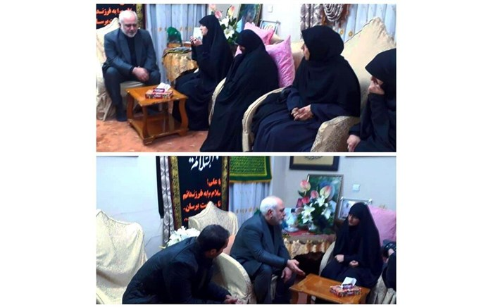 حضور ظریف و همسرش در منزل شهید حاج قاسم سلیمانی