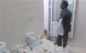 توزیع بسته مواد غذایی بین مددجویان بافقی
