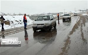 لغزندگی جاده های لرستان در پی بارش برف و باران