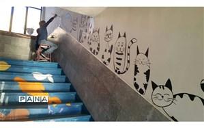 نقاشان دیوارمهربانی در  مدرسه حضرت قاسم (ع) ناحیه یک یزد