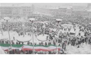 راهپیمایی  پرشور 22بهمن در گیلان  با وجود بارش شدید برف