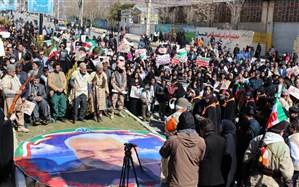 ادای احترام  تشکیلاتی دانش آموزان پیشتاز کهگیلویه وبویراحمد به تمثال شهید سلیمانی در راهپیمایی 22 بهمن
