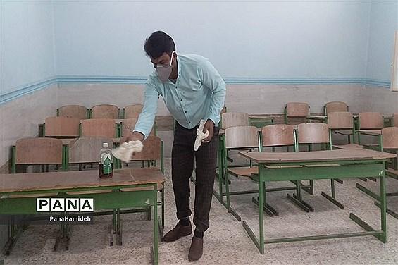 ضدعفونی و گندزدایی مدارس شهرستان حمیدیه