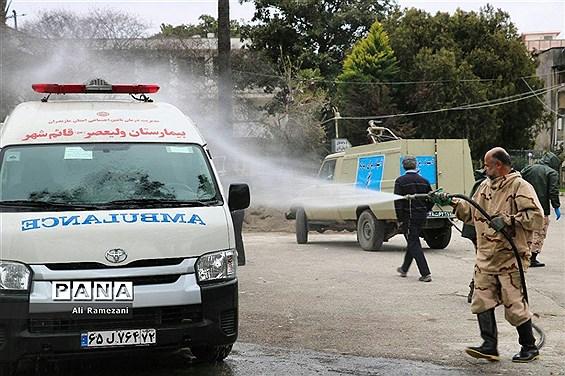 ضدعفونی کردن اطراف بیمارستانهای پایلوت پذیرش بیماران مبتلا یا مشکوک به کرونا در قائمشهر