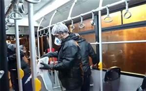 ضدعفونی شبانه  اتوبوس های کرج