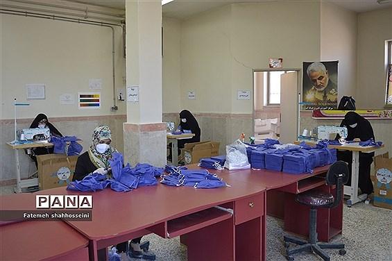 تهیه و تولید ماسک توسط بانوان و دانش آموزان بسیجی فیروزکوه