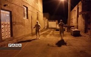 ضدعفونی محله سهل آباد شیراز توسط گروههای خودجوش فرهنگیان و مربیان پیشتاز