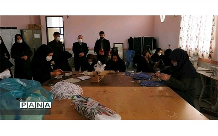 کارگاه دوخت ماسک  به همت فرهنگیان شیروان