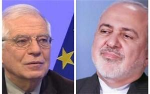 ظریف و مسئول سیاست خارجی اتحادیه اروپا تحولات شیوع کرونا را بررسی کردند